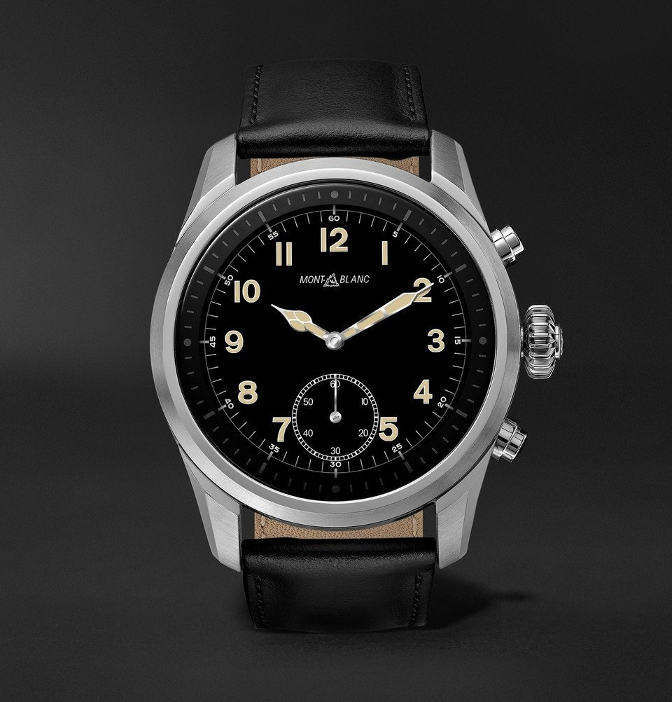 Photo: Montblanc - Summit 2 42mm Stainless Steel and Leather Smart Watch - Black