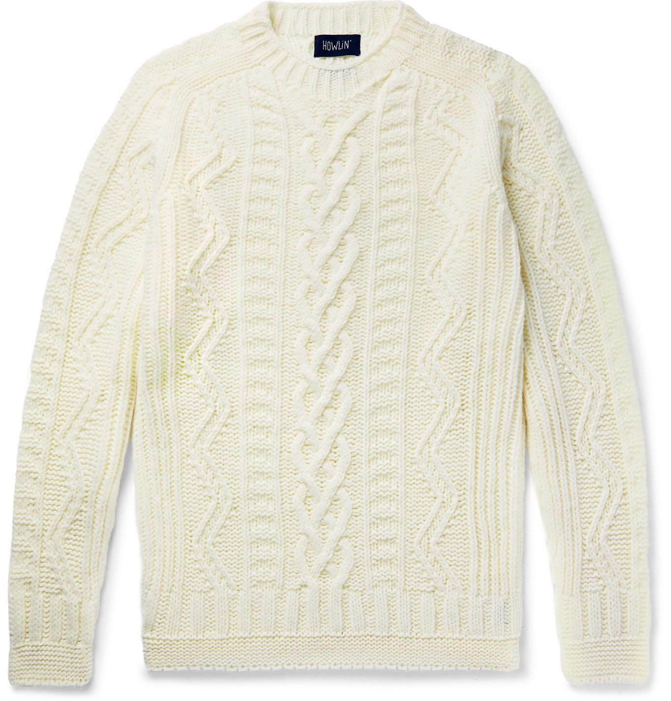 Photo: Howlin' - Super Cult Slim-Fit Cable-Knit Wool Sweater - White