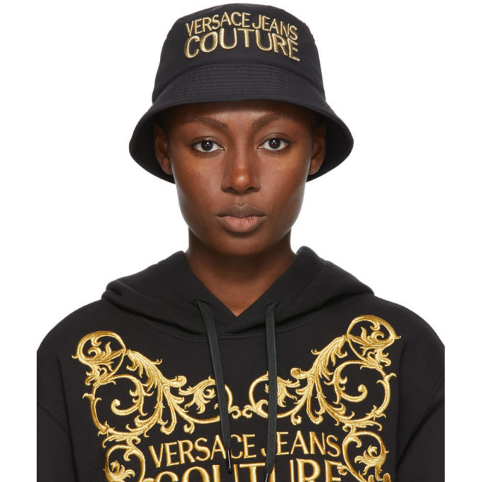Photo: Versace Jeans Couture Black and Gold Embroidered Logo Bucket Hat