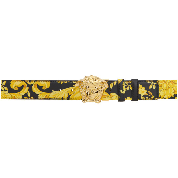 Photo: Versace Reversible Black and Gold Morocco Medusa Belt