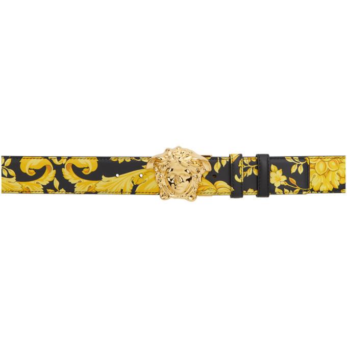 Photo: Versace Reversible Black and Gold Morocco Medusa Belt