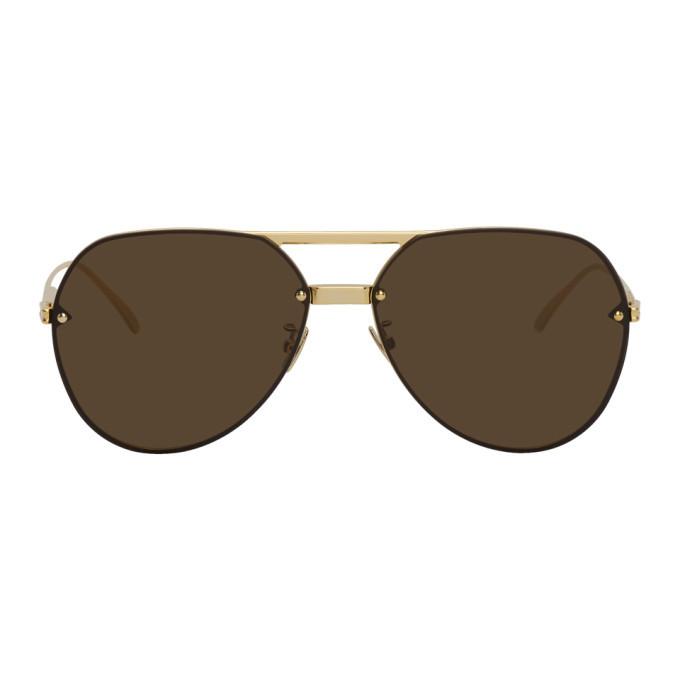 Photo: Bottega Veneta Gold Aviator Sunglasses