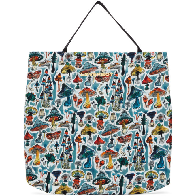 Photo: Charles Jeffrey Loverboy Blue Large Shrooms Tote Bag
