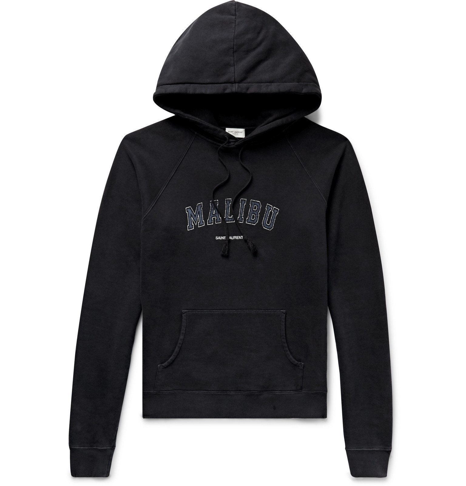 Photo: SAINT LAURENT - Slim-Fit Printed Loopback Cotton-Jersey Hoodie - Black