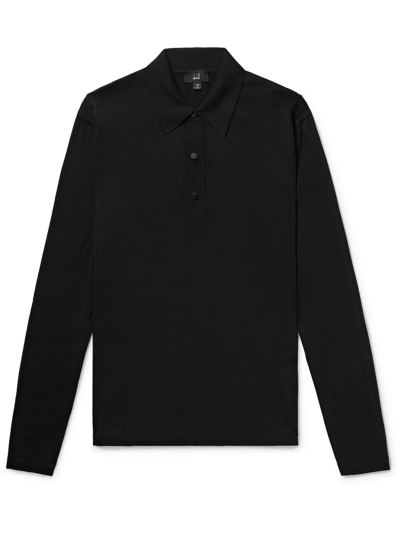 Photo: Dunhill - Merino Wool and Mulberry Silk-Blend Polo Shirt - Black