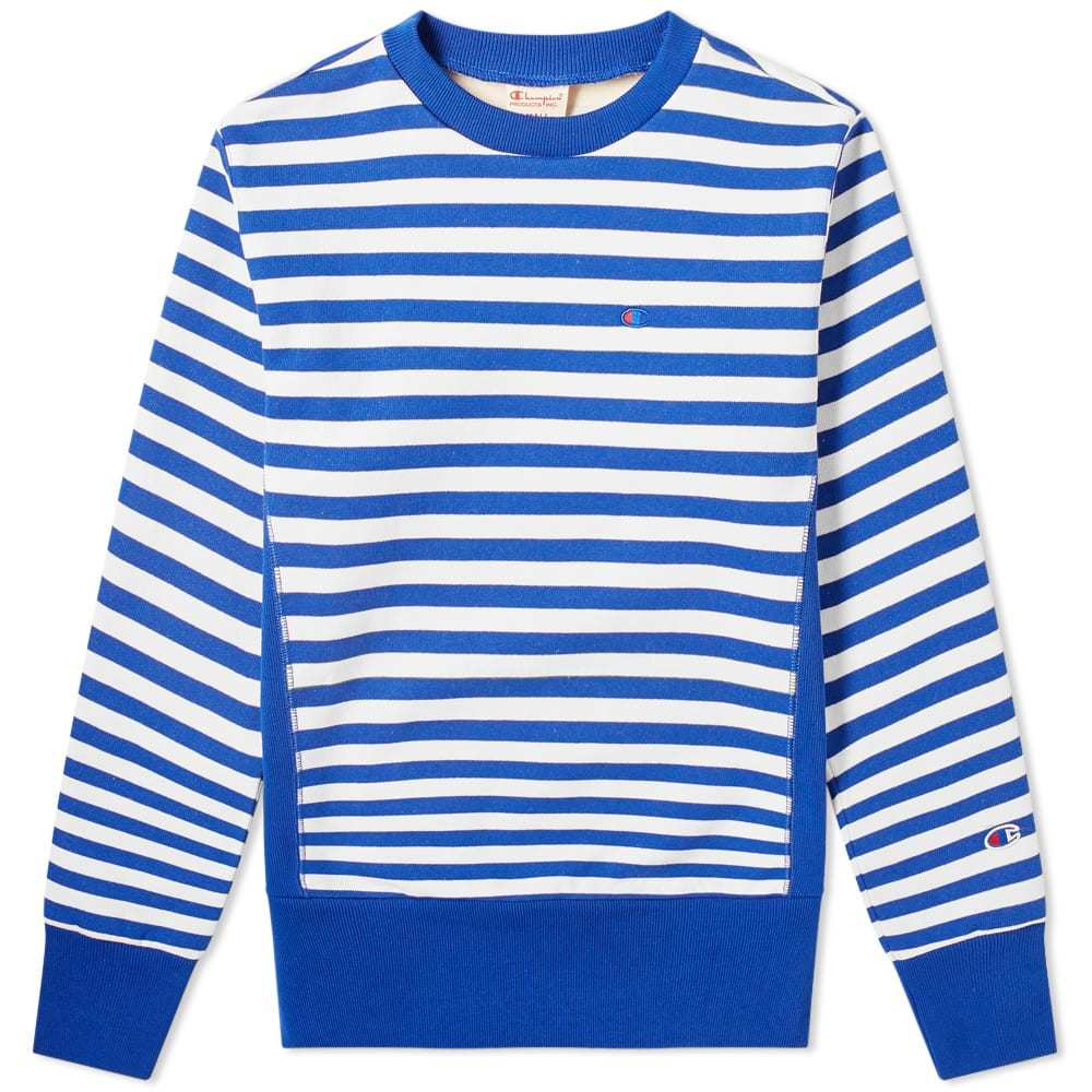 Photo: Champion Reverse Weave Stripe Crew Sweat Blue & White