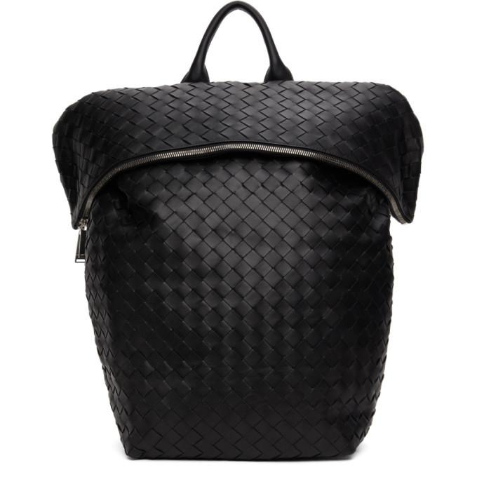 Photo: Bottega Veneta Black Nappa Intrecciato Medium Backpack