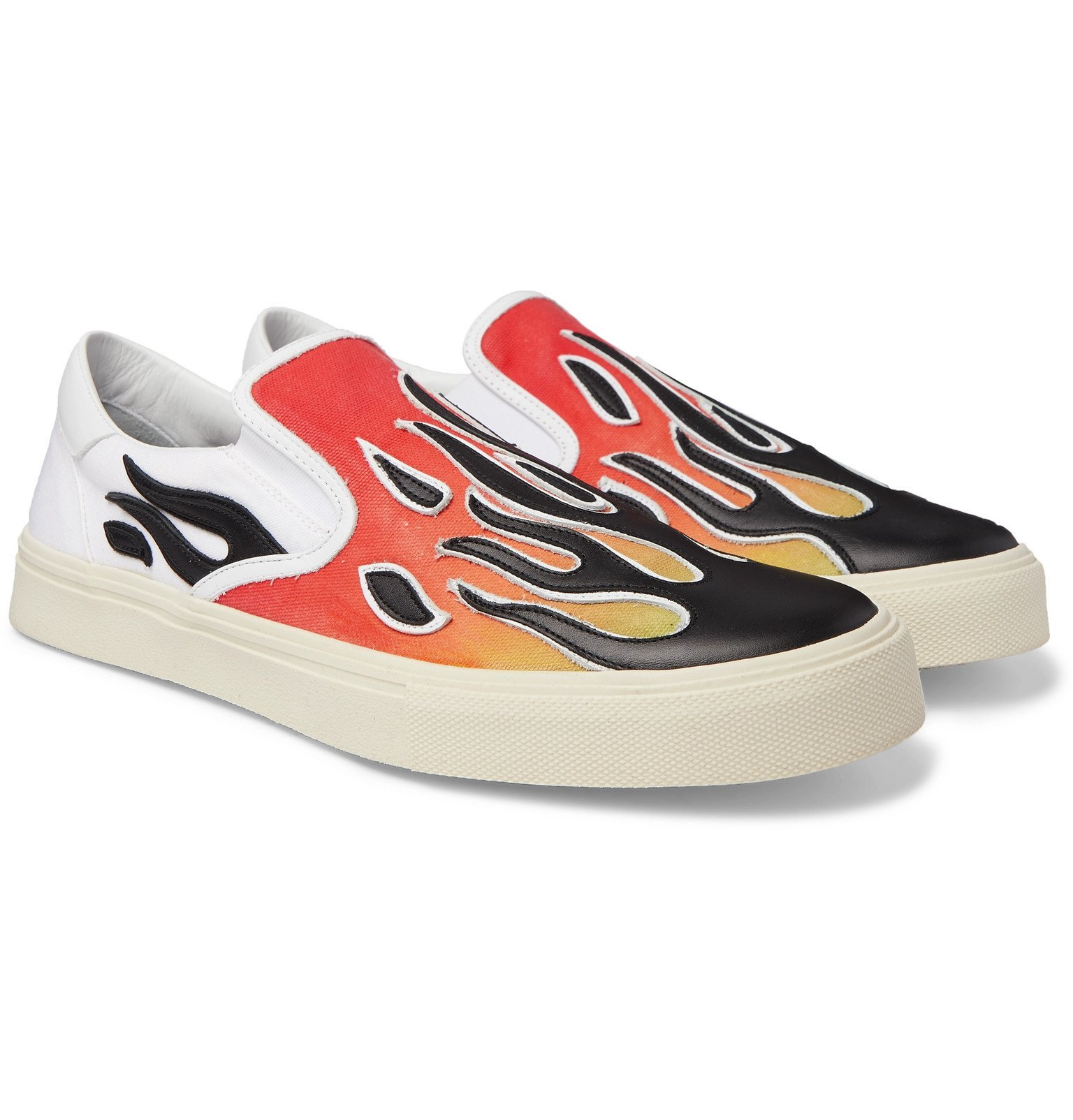 Photo: AMIRI - Flame Leather-Appliquéd Canvas Slip-On Sneakers - Multi