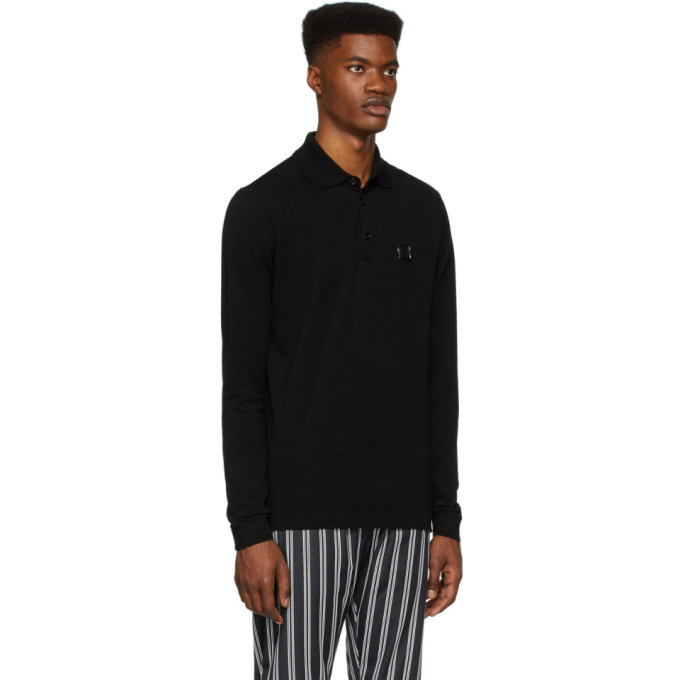 Dolce and Gabbana Black Long Sleeve Polo