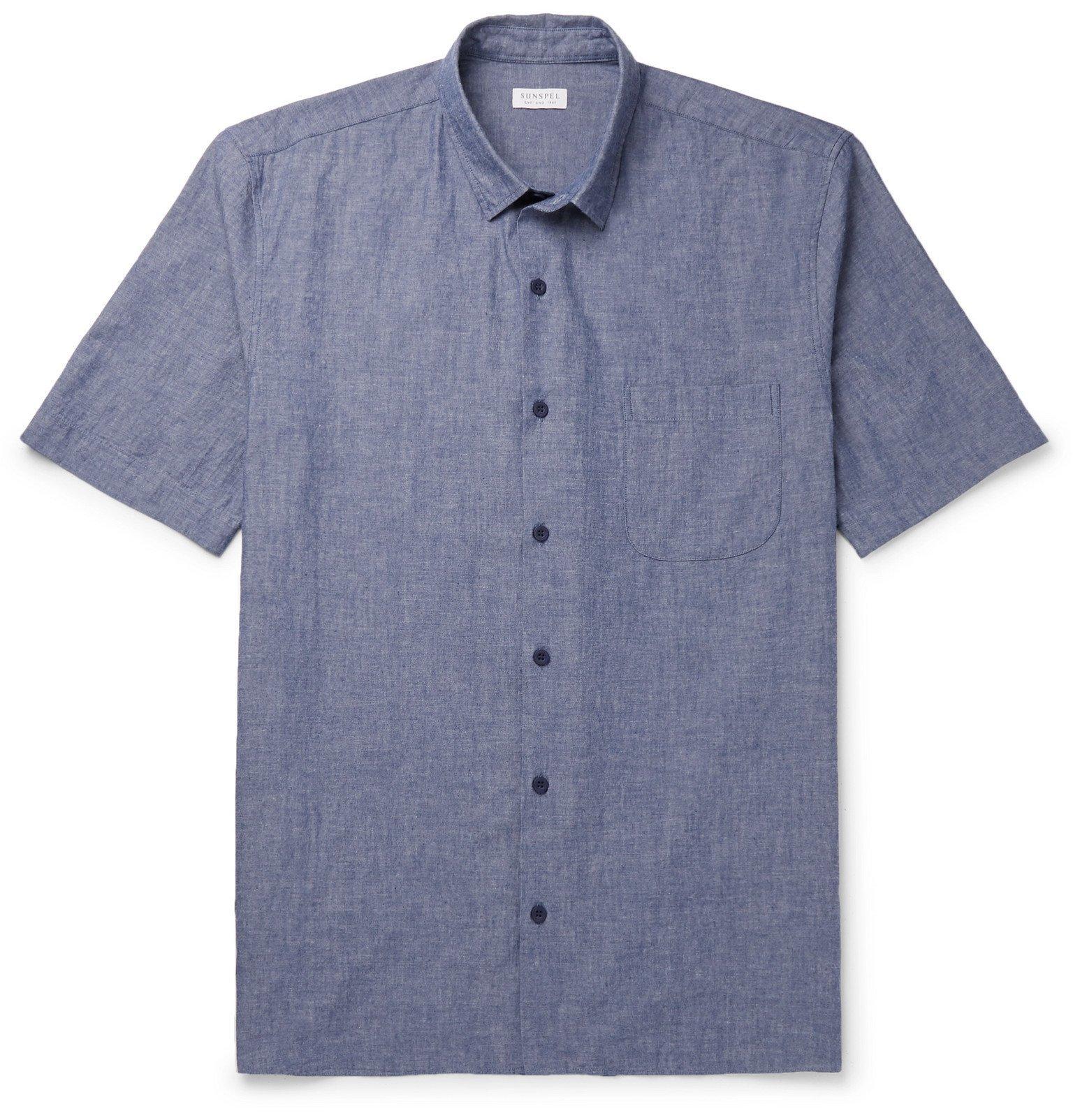 Sunspel - Mélange Selvedge Cotton-Chambray Shirt - Blue