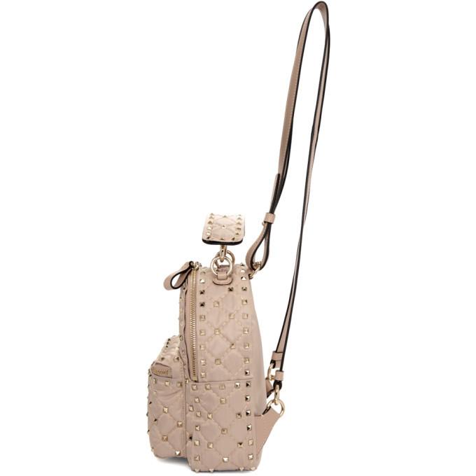 d6591d9e38 Valentino Pink Valentino Garavani Mini Nylon Rockstud Backpack Valentino