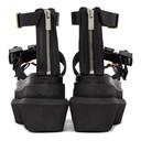 Sacai Black Buckles Wedge Sandals
