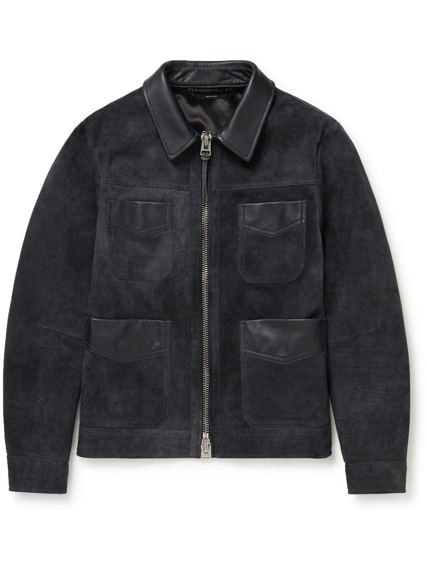 Photo: TOM FORD - Slim-Fit Leather-Trimmed Suede Field Jacket - Blue