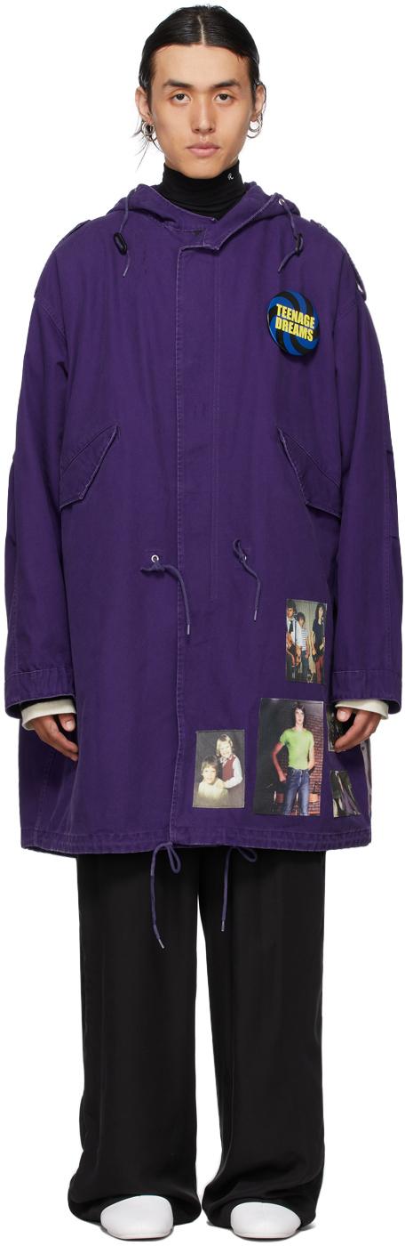 Photo: Raf Simons Purple Medium Length Parka Coat