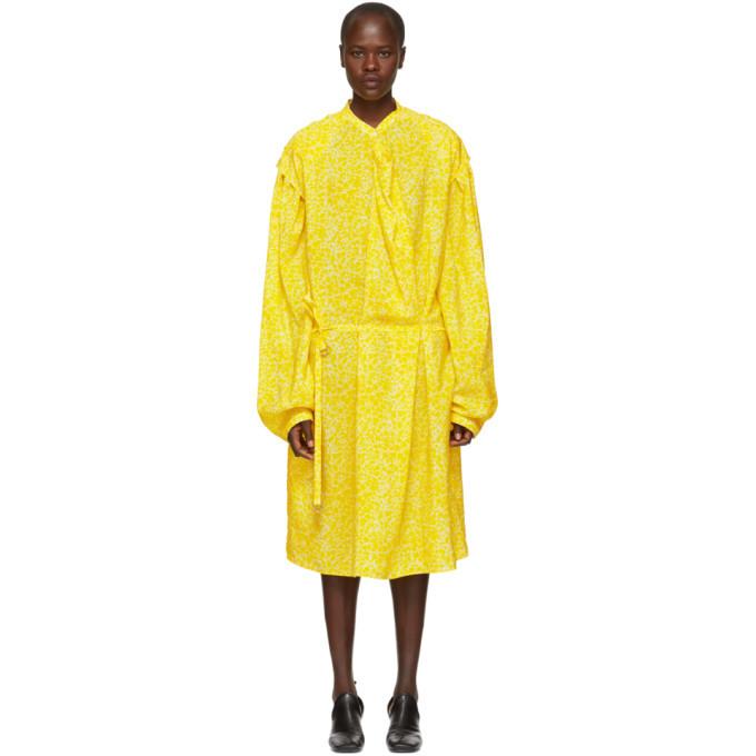 Lemaire Yellow Large Sleeve Twist Dress