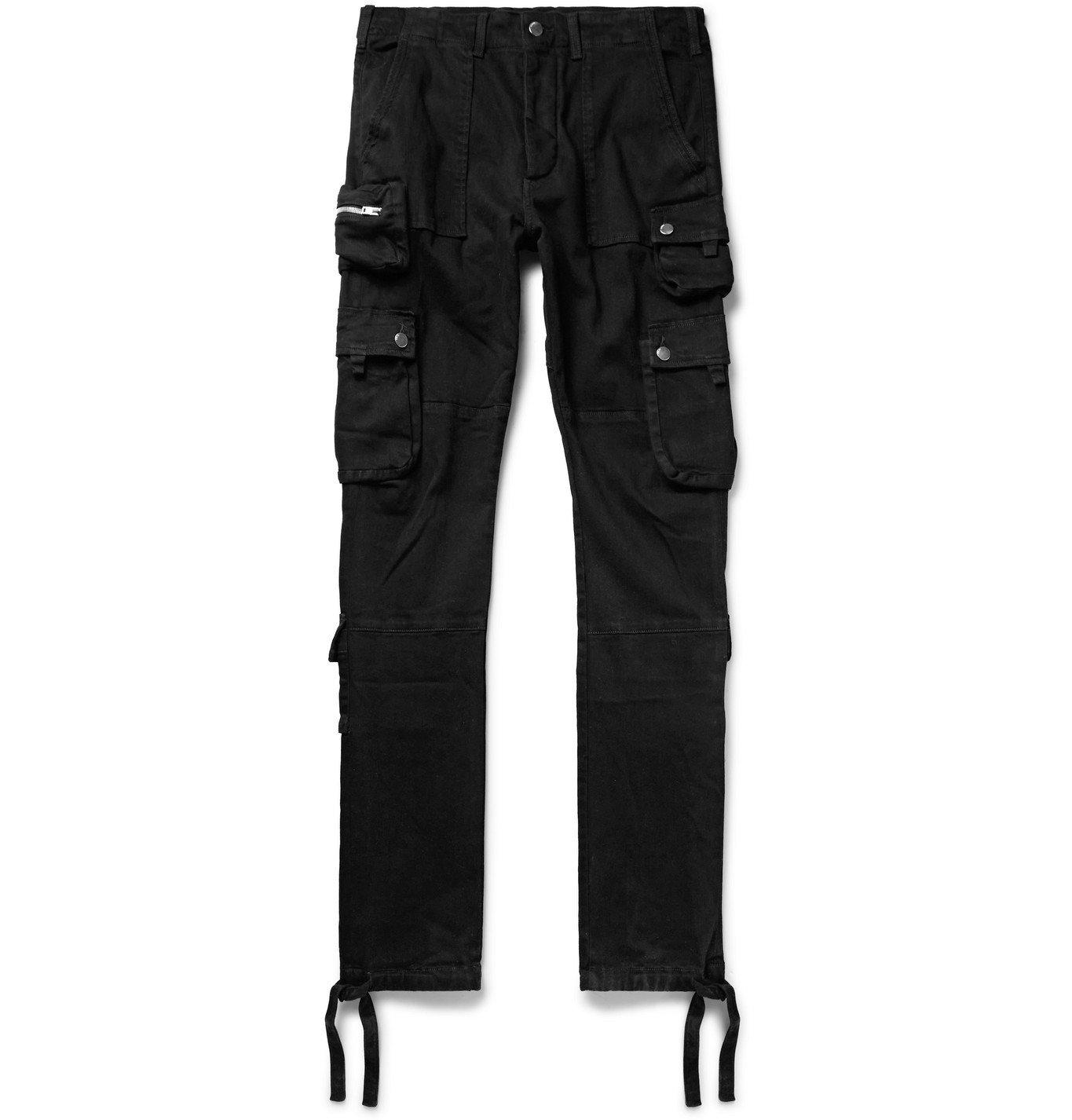 Photo: AMIRI - Tapered Stretch-Denim Cargo Trousers - Black