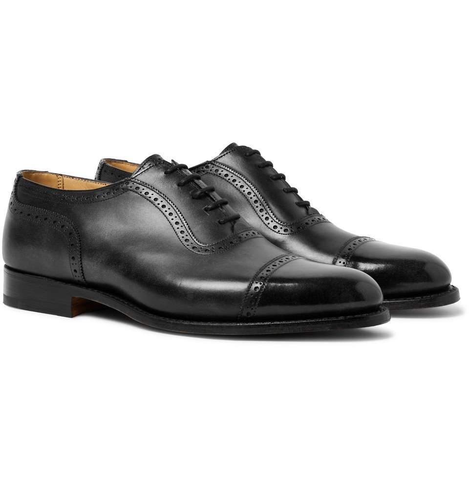Photo: Tricker's - Trenton Cap-Toe Leather Oxford Brogues - Black