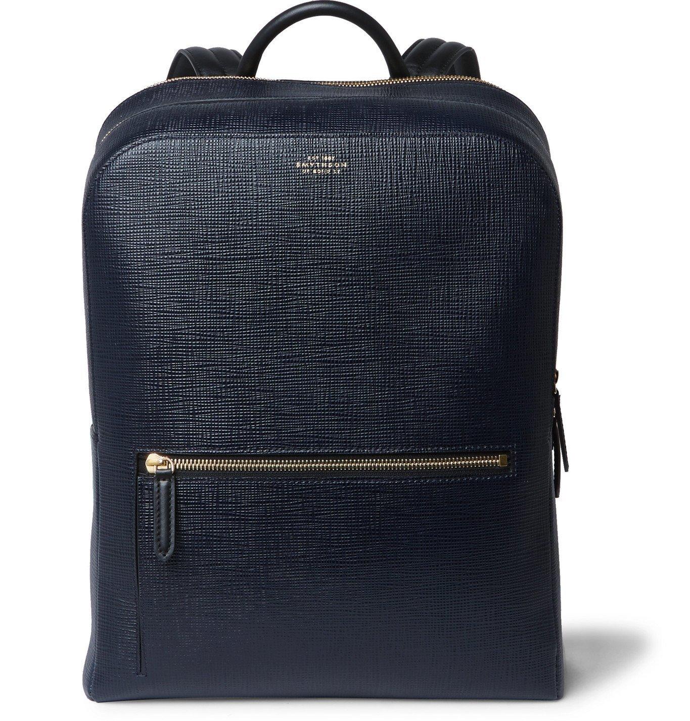 Photo: Smythson - Panama Cross-Grain Leather Backpack - Blue