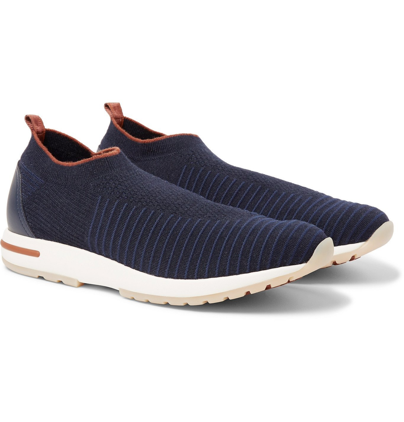 Photo: Loro Piana - 360 Flexy Walk Leather-Trimmed Knitted Wish Wool Slip-On Sneakers - Blue