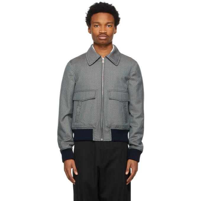 Photo: Lanvin Blue and Beige Wool Bomber Jacket