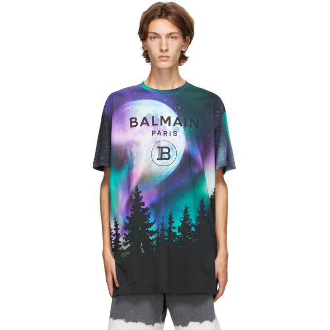 Photo: Balmain Purple and Blue Oversized Sky Logo T-Shirt