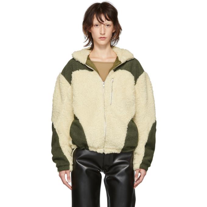 GmbH Off-White and Green Teddy Fleece Kol Zip-Up Sweater