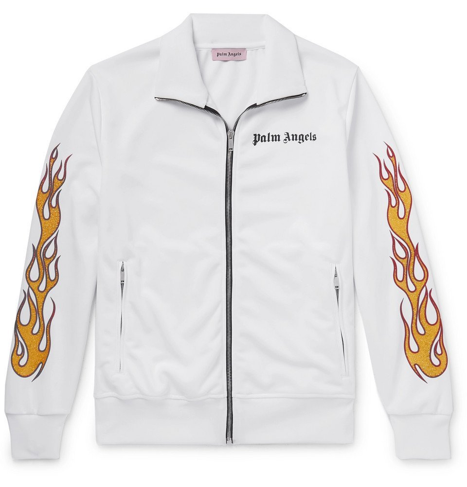 Photo: Palm Angels - Slim-Fit Glittered Printed Tech-Jersey Track Jacket - White
