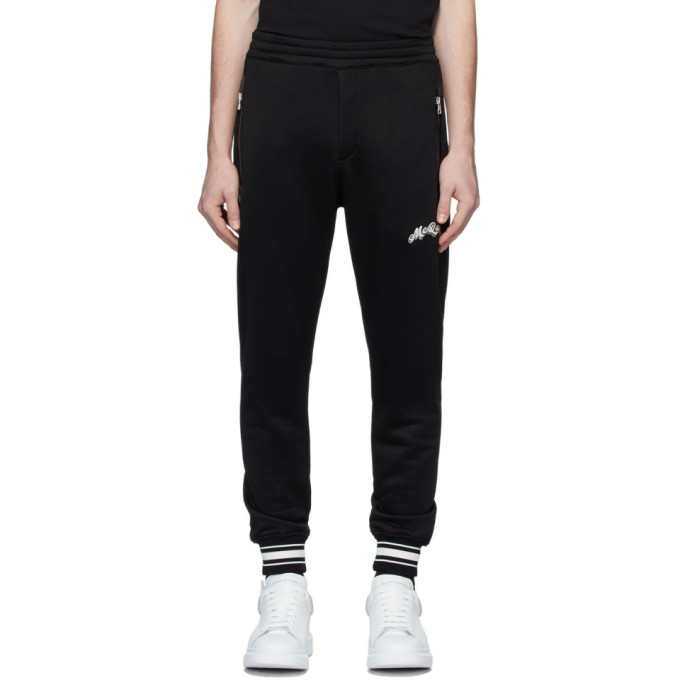 Photo: Alexander McQueen Black Embroidered Logo Lounge Pants