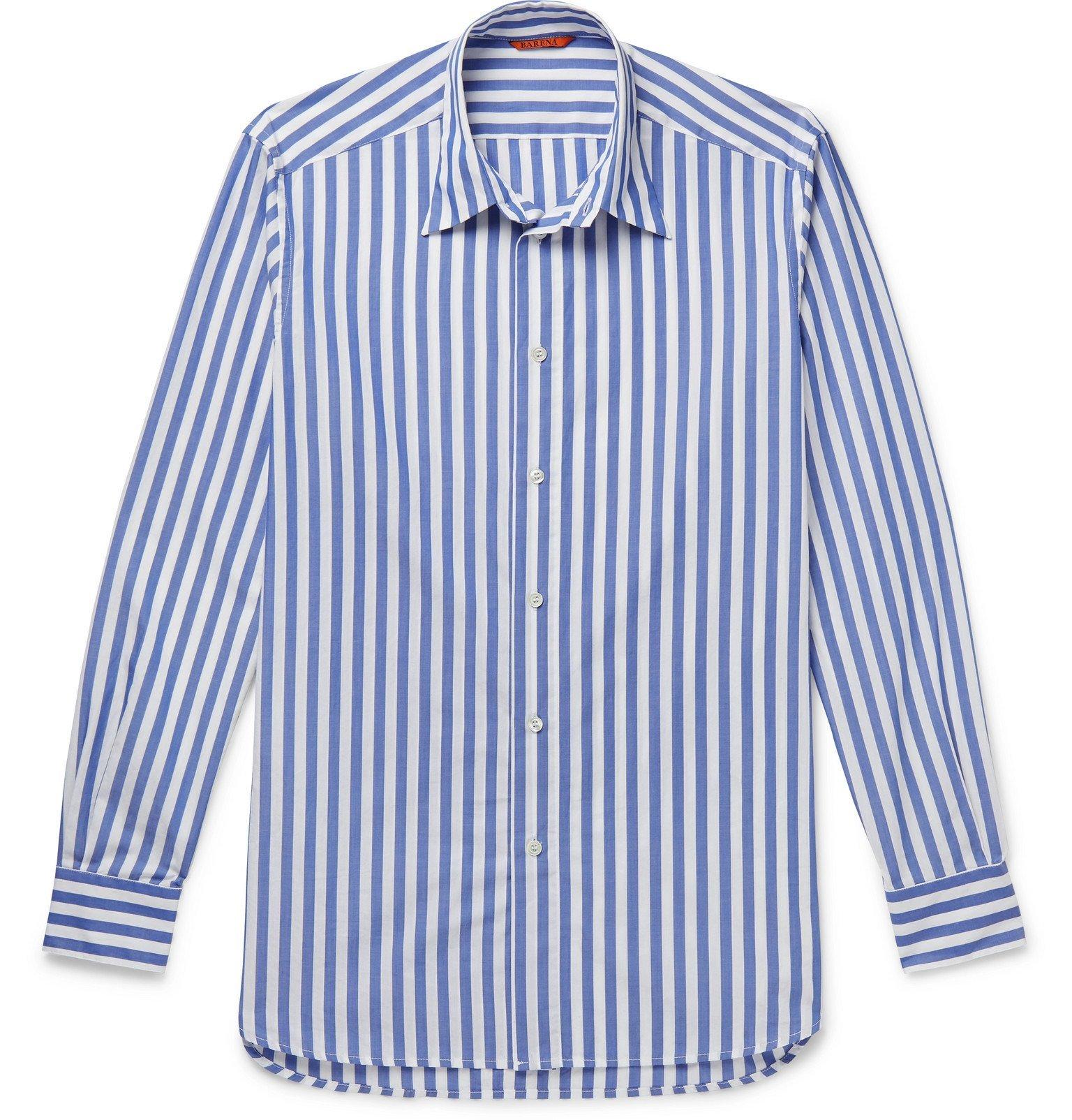 Photo: Barena - Striped Cotton-Poplin Shirt - Blue