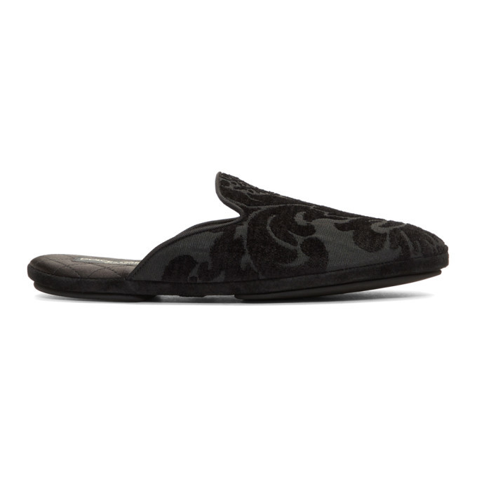 Photo: Dolce and Gabbana Black Floral Embroidered Loafers