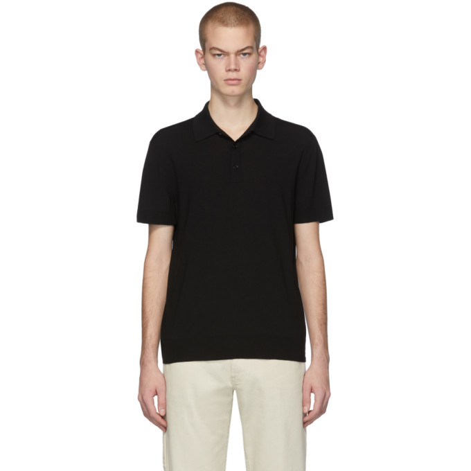 Photo: Bottega Veneta Black Knit Logo Polo