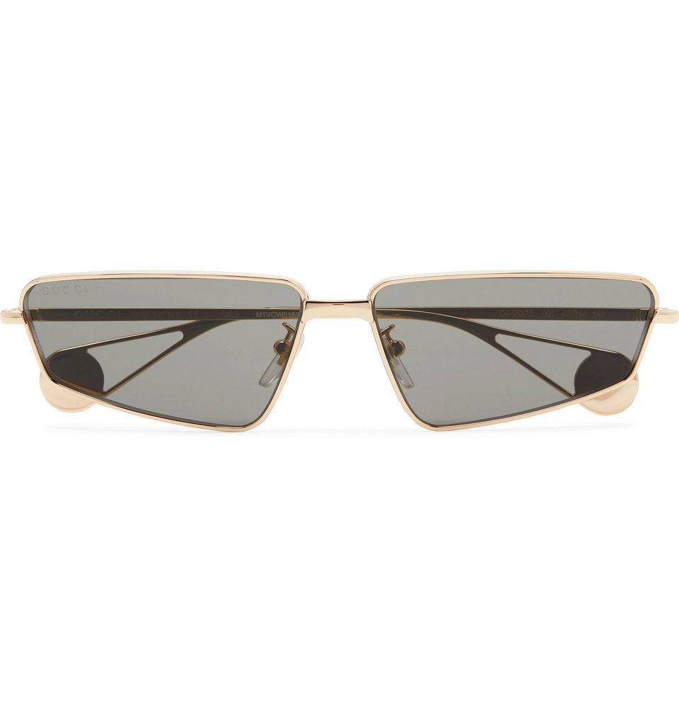 Photo: Gucci - Rectangle-Frame Gold-Tone Sunglasses - Gold