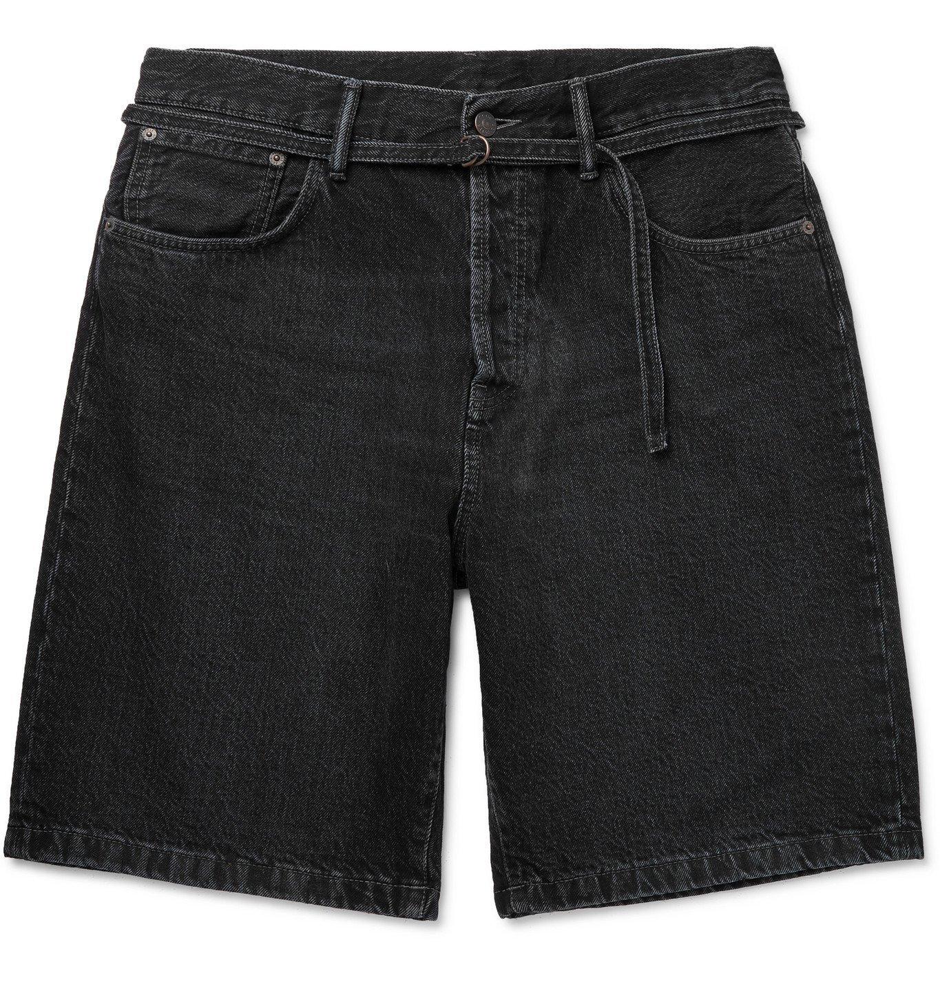 ACNE STUDIOS - Rowland Wide-Leg Belted Denim Shorts - Black