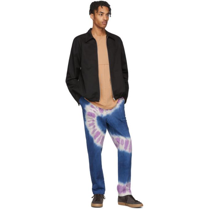 The Elder Statesman Navy and Purple Tie-Dye Jeans