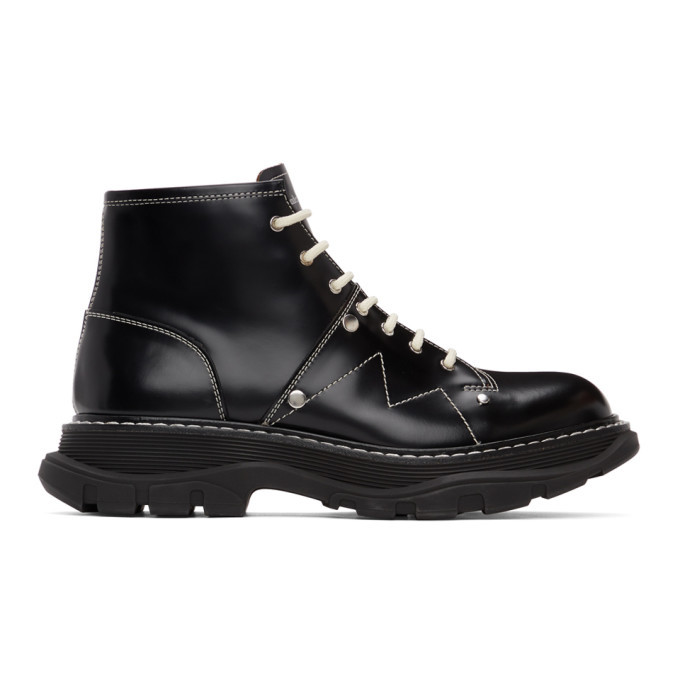 Photo: Alexander McQueen Black Contrast Stitch Tread Lace-Up Boots