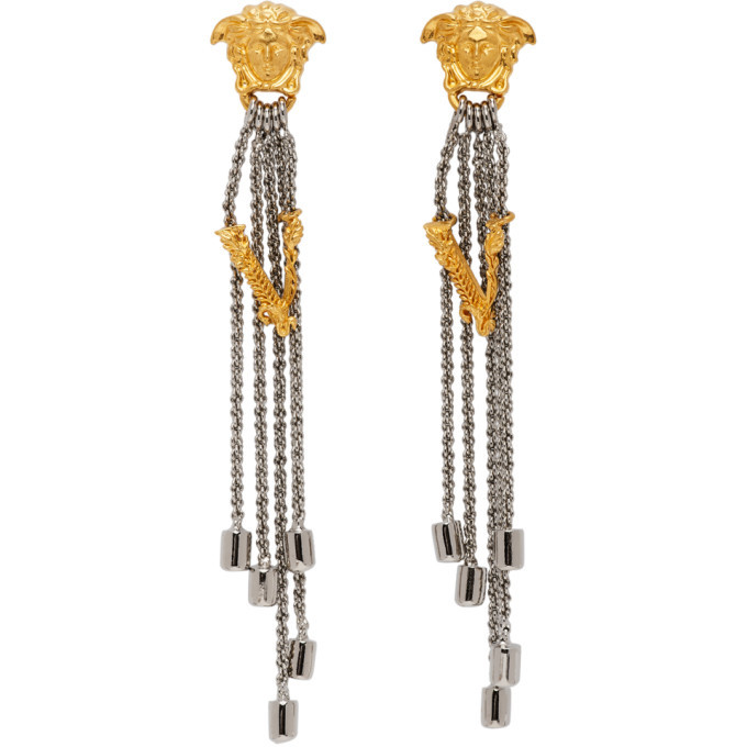 Photo: Versace Silver Bi-Color Vitrus Earrings