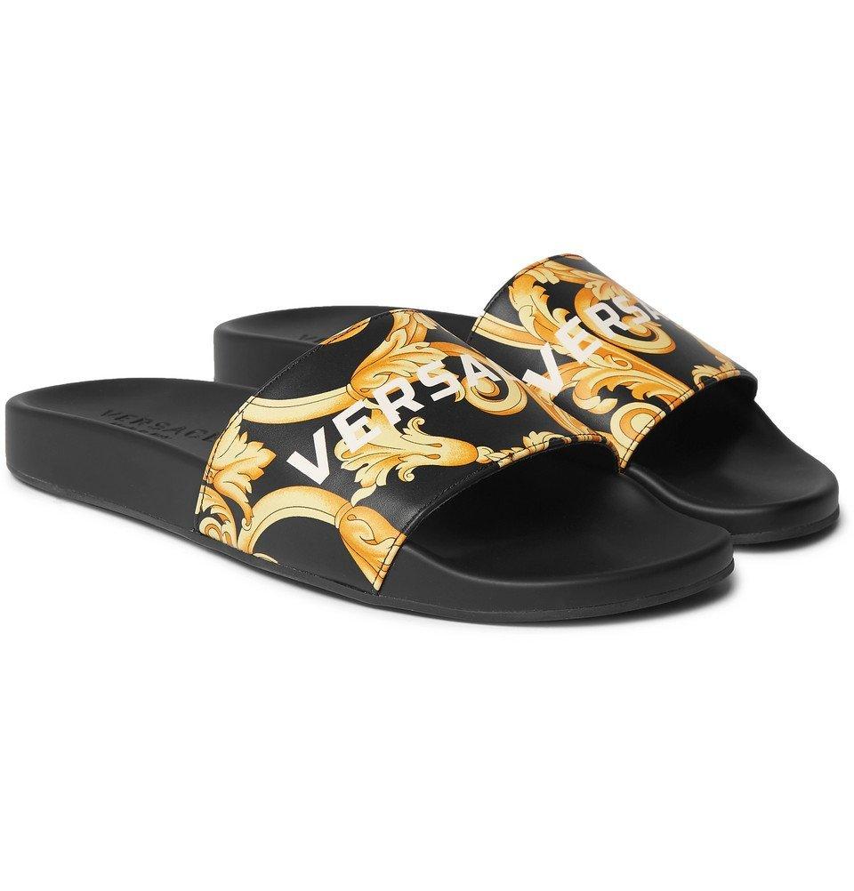 Photo: Versace - Printed Leather Slides - Men - Black