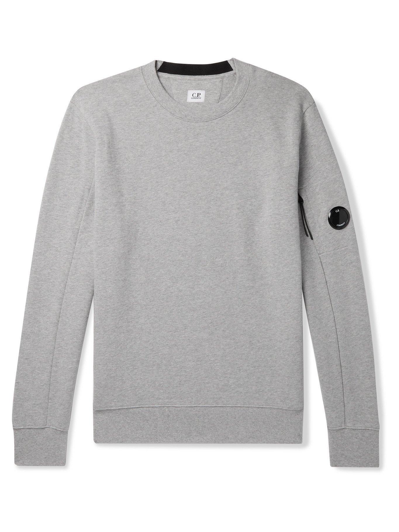 Photo: C.P. COMPANY - Logo-Appliquéd Fleece-Back Cotton-Jersey Sweatshirt - Gray