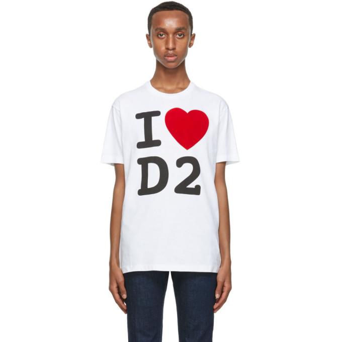 Photo: Dsquared2 White I Love D2 T-Shirt