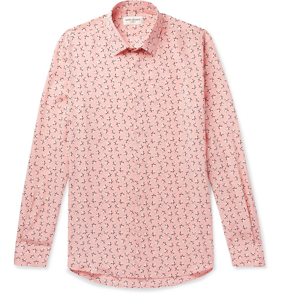 Photo: Saint Laurent - Slim-Fit Printed Silk Crepe De Chine Shirt - Pink