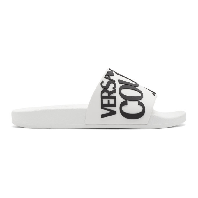 Photo: Versace Jeans Couture White Logo Slides