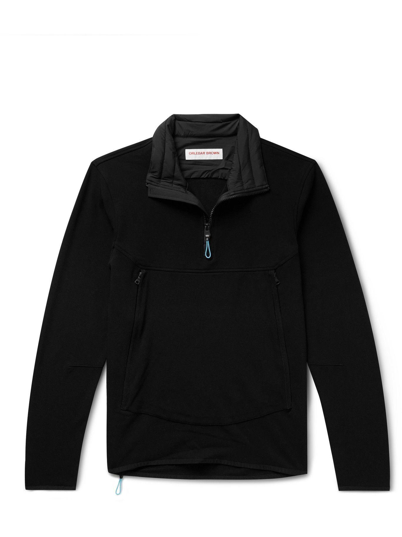 Photo: Orlebar Brown - Downtown Capsule Flagler Quilted Stretch-Jersey Half-Zip Sweatshirt - Black