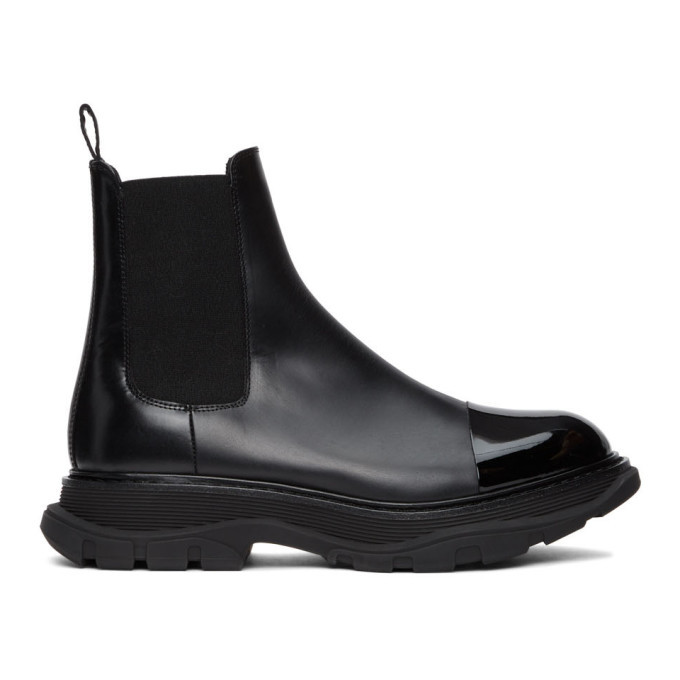 Photo: Alexander McQueen Black Shiny Toe Chelsea Boots