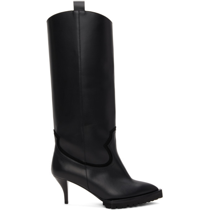 Photo: Sacai Black Tall Heeled Cowboy Boots