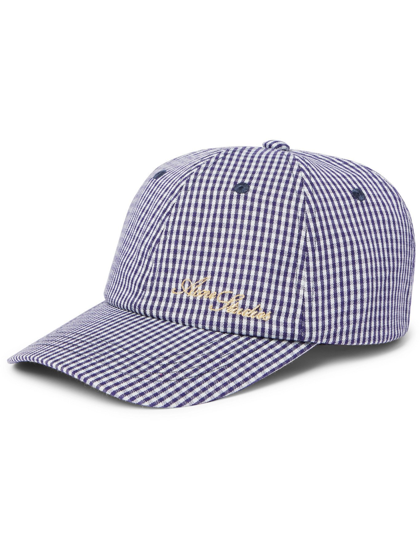 Photo: ACNE STUDIOS - Logo-Embroidered Gingham Woven Baseball Cap - Blue