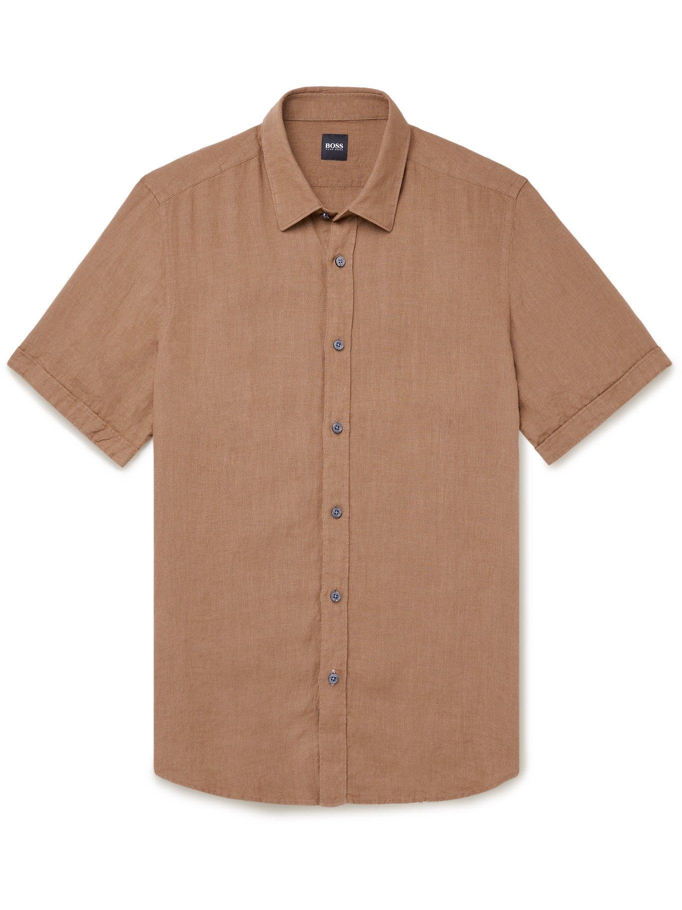 HUGO BOSS - Linen Shirt - Neutrals