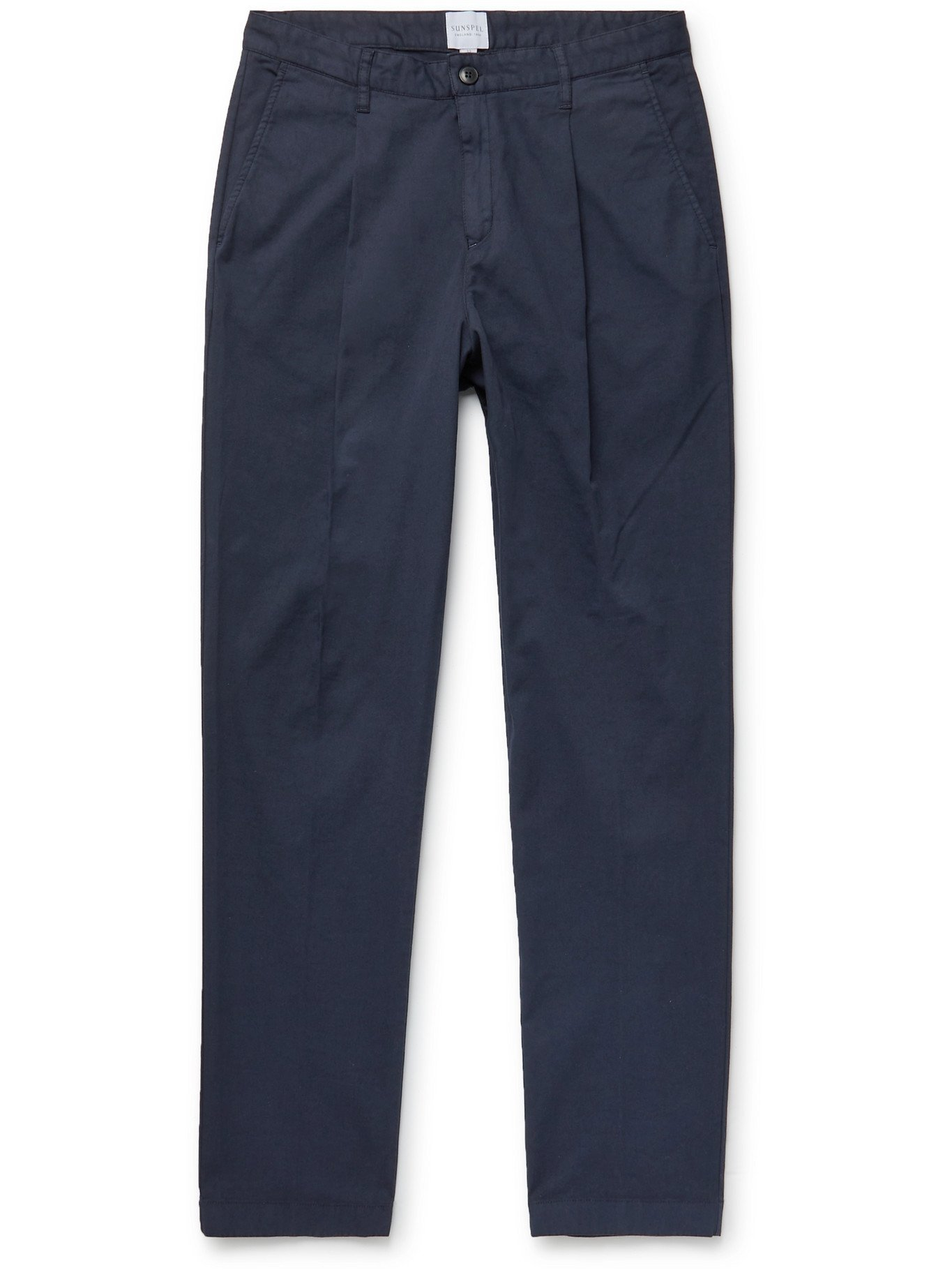 SUNSPEL - Pleated Garment-Dyed Cotton-Blend Drill Trousers - Blue - UK/US 32