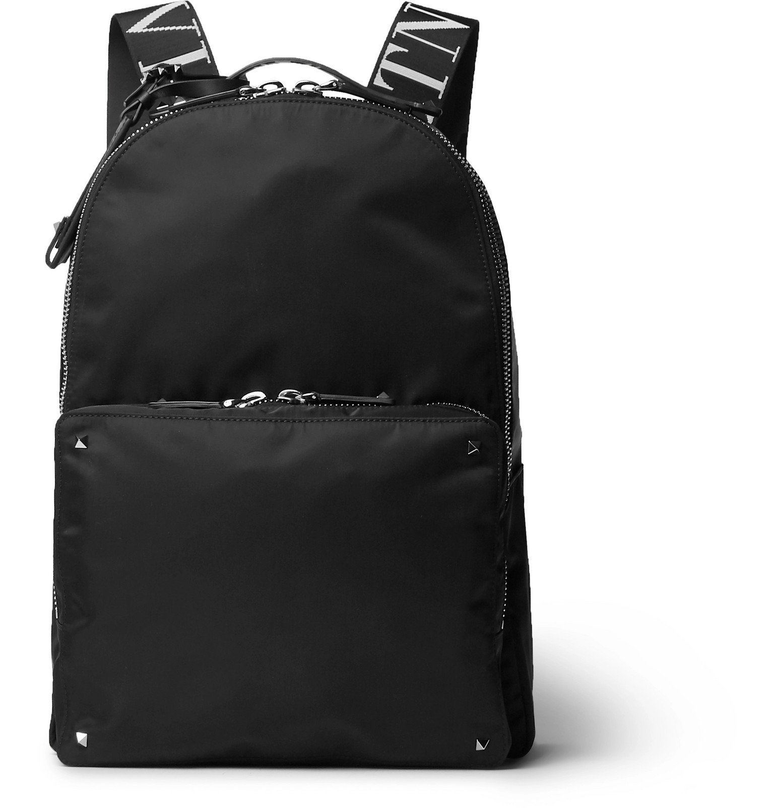 Photo: Valentino - Valentino Garavani Rockstud Logo Webbing-Trimmed Nylon Backpack - Black