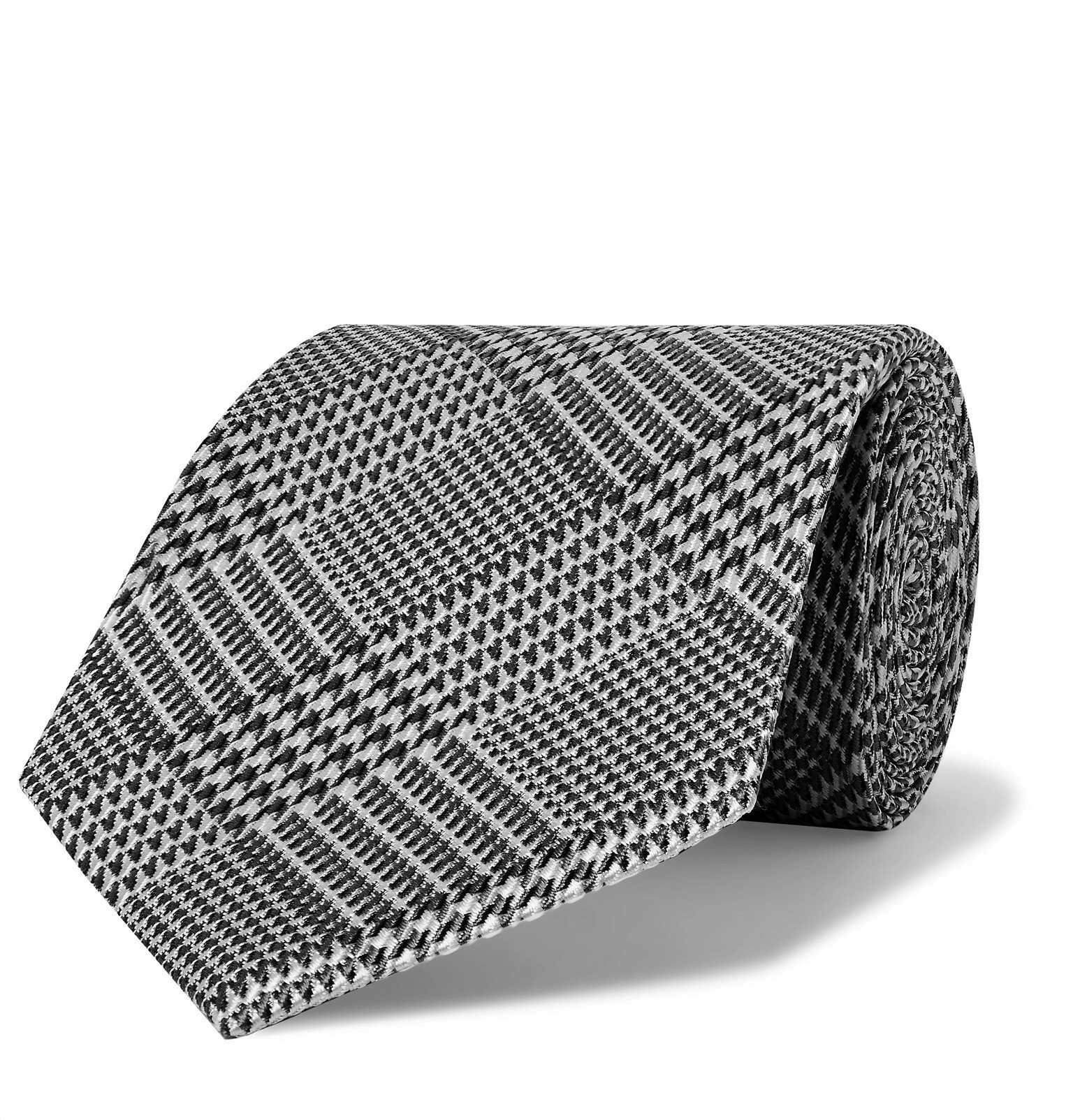 Photo: TOM FORD - 8cm Prince of Wales Checked Silk-Jacquard Tie - Gray