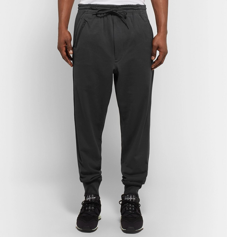 Y-3 - Tapered Cotton-Jersey Sweatpants - Men - Charcoal